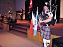 Piping at the memorial service for Bruce Weatherson